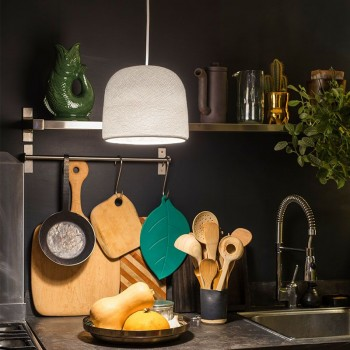 Lamp Cloche wit met het licht aan