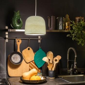 Lamp Cloche ivoorkleur met het licht aan