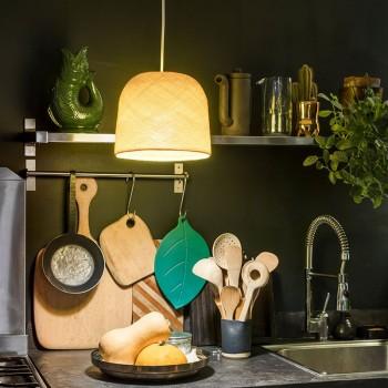 Lamp Cloche geel met het licht aan