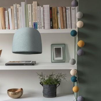 Lamp Cloche azuurblauw met het licht uit