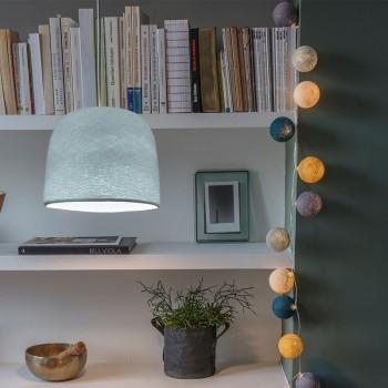 Lamp Cloche azuurblauw met het licht aan