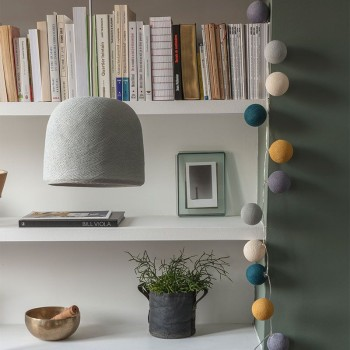 punto luce con paralume Cloche grigio perla spento