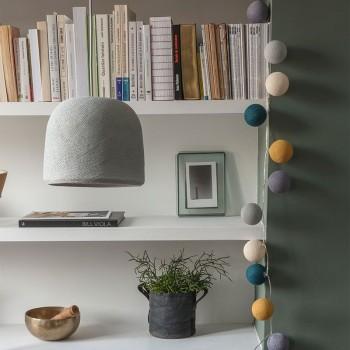 Lamp Cloche parelgrijs met het licht uit