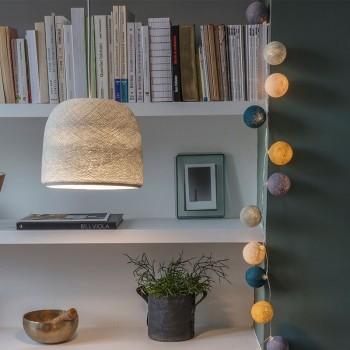 Lamp Cloche parelgrijs met het licht aan