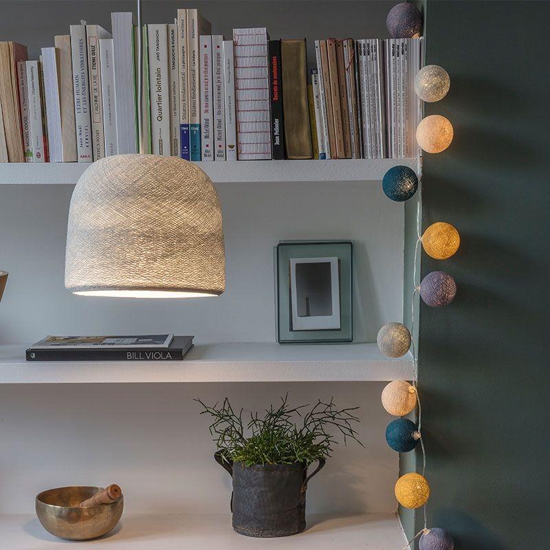 punto luce con paralume cloche grigio perla acceso