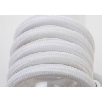 suspension lumineuse simple fil tissé blanc