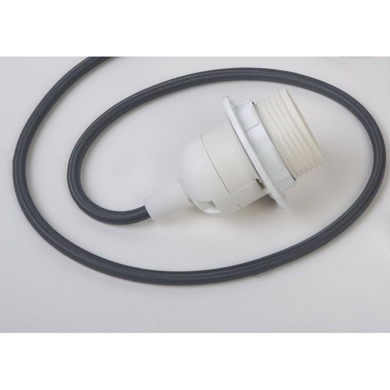 suspension lumineuse fil tissé gris foncé