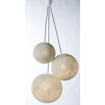 triple hanging fixture with black braided cord