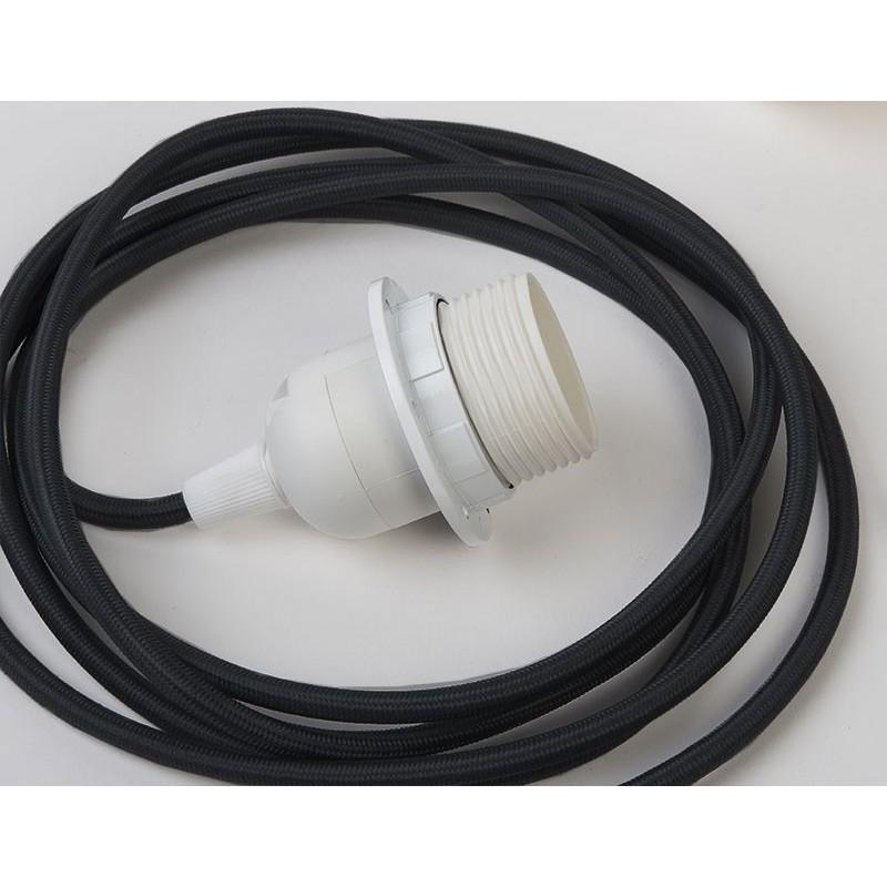 suspensión simple cable tejido negro, 250 cm