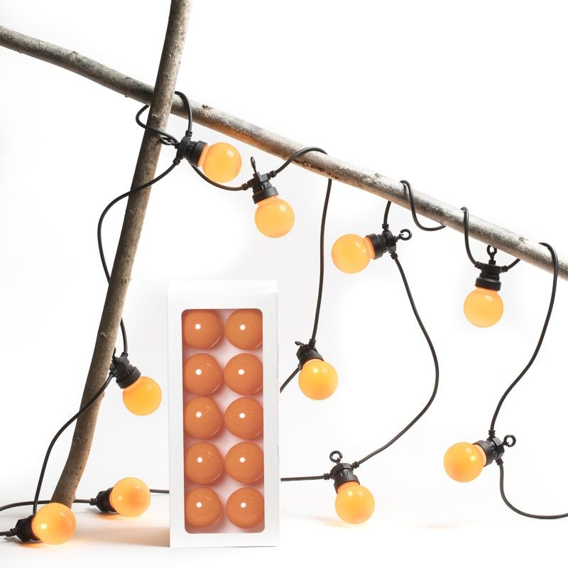 coffret guirlande LED guinguette uni mandarine