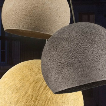 suspension lumineuse triple abats-jour sable graphite moutarde