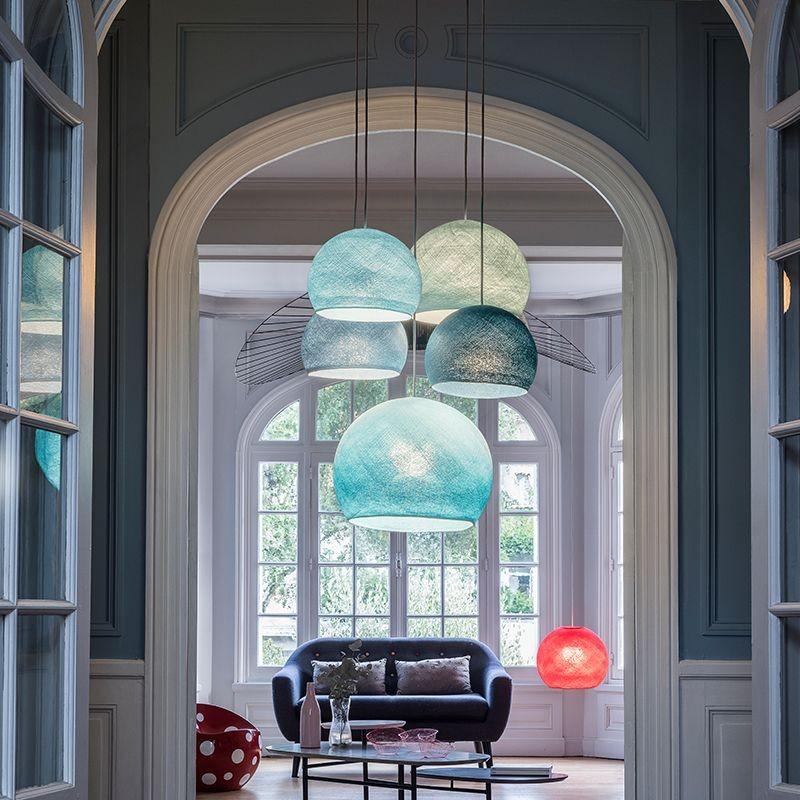 suspension plafonnier 5 coupoles bleues la case de cousin paul. Black Bedroom Furniture Sets. Home Design Ideas