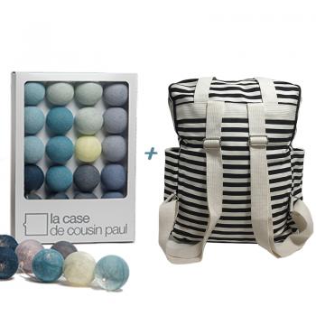 guirlande lumineuse l'original bleu gris et son sac