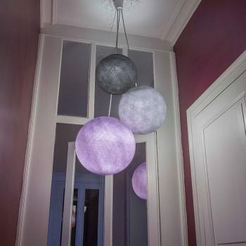 suspension 3 globes anthracite galet violine