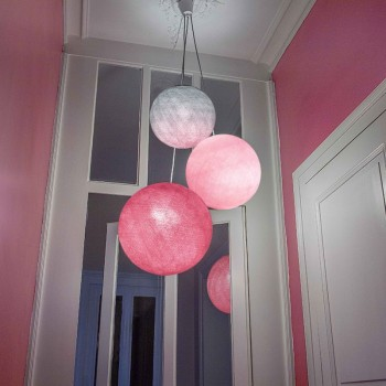 luminaire 3 boules inox rose poudré rose