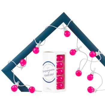 Coffret guirlande LED Guinguette intérieur extérieur rose câble blanc