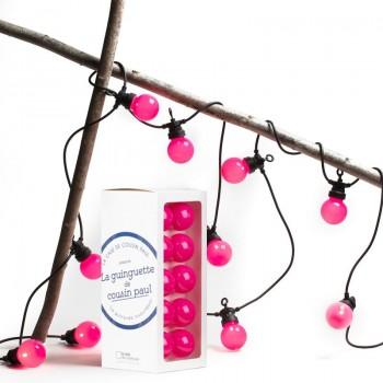 coffret guirlande LED guinguette uni rose